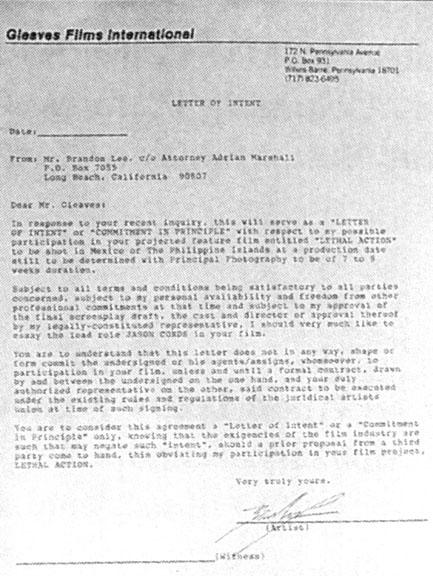 Brandon Lee Lethal Action movie letter of intent